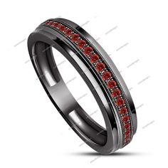 0.74ct Rd Red Garnet 14k Black Gold Finish 925 Silver Men's Wedding Band Ring…