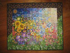 Art Quilt, Sunshine Garden Wall Hanging Quilted Landscape Handmade