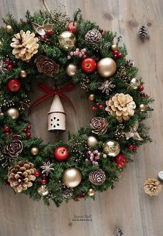 ハンドメイドマーケット+minne(ミンネ)|+クリスマスリース(4317)~Happy+holidays!~ 36cm