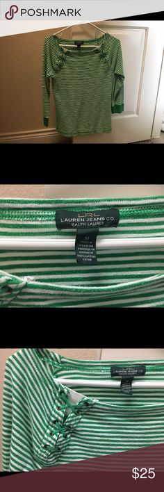 Ralph Lauren shirt. It has green and white stripes, and Lace up details near shoulders.  It's a medium, but is formfitting, so could also fit a small Ralph Lauren Tops Tees - Long Sleeve