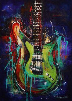 Fine Art Print Electric Guitar Stratocaster by NYoriginalpaintings, $20.00