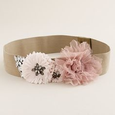 This is beautiful...and sold out. not that I would buy it because I'm cheap, but it can be duplicated! J Crew Jeweled Elastic Flower Belt