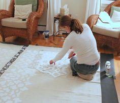 Stenciled Drop Cloth Curtain Tutorial