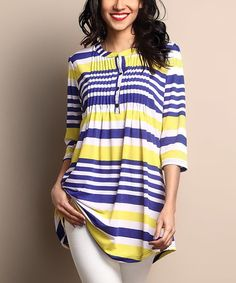 Look what I found on #zulily! Purple & Yellow Stripe Pin Tuck Notch Neck Tunic by Reborn Collection #zulilyfinds