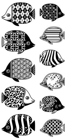 Patterned Fish - Clear Rubber Stamps