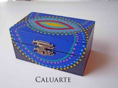 Cajita de madera pintada a mano, Madera, Cajas