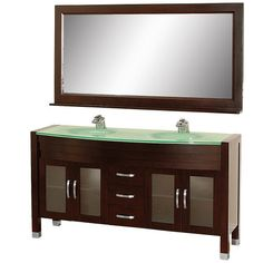 Wyndham Collection Daytona 63 inch Double Bathroom Vanity in Espresso with Green Glass Top with Green Integral Sinks ** Learn more by visiting the image link.