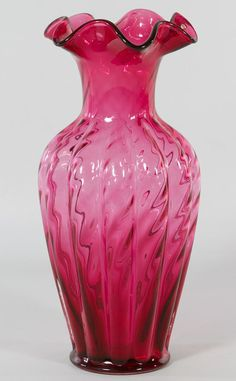 Vintage Cranberry Glass Vase by Fenton offers Victorian Charm