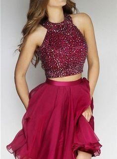 Charming Homecoming Dress,Halter Prom Dress,Short Prom Dress,Beaded Homecoming…