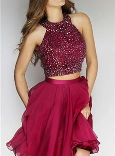 Charming Homecoming Dress,Halter Prom Dress,Short Prom Dress,Beaded Homecoming Dress,Sexy Homecoming Dress