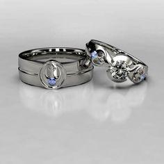 Star Wars Rebel Alliance Wedding Ring Set with Sapphire  Wedding rings