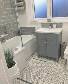 These versatile floor and wall tiles are simple to install and give a stunning finished look. Each tile is pre-cut which gi Small Bathroom Interior, Small Bathroom Layout, Bathroom Renos, Bathroom Styling, Family Bathroom, Bathroom Ideas, Small Toilet Room, Bathroom Inspiration, Arran
