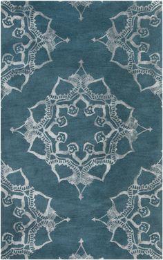 The over-scaled viscose pattern gives this henna-inspired rug a subtle, elegant shimmer (Henna HEN-1003).