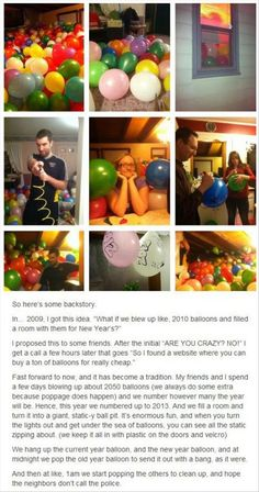 The Most Awesome, Randomly-Made-Up New Year's Tradition Ever. It would at least be fun to take pictures in and we could get helium balloons as well! My Tumblr, Tumblr Posts, Just In Case, Just For You, New Years Traditions, Stuff To Do, Cool Stuff, Random Stuff, Funny Stuff