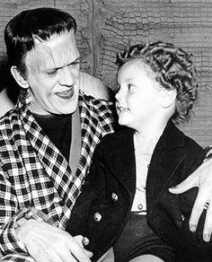 """Boris Karloff as the Monster and Donnie Dunagan as Peter von Frankenstein from """"Son of Frankenstein""""."""