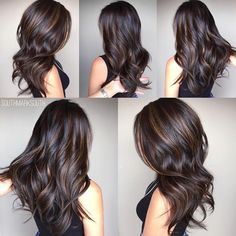 Silky Brown Waves With Highlights