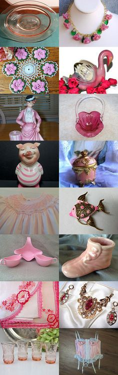 PRETTY IN PINK #vtpassion by The Widhalms on Etsy--Pinned with TreasuryPin.com  #vintagepink #pinkglass #vintagehomedecor
