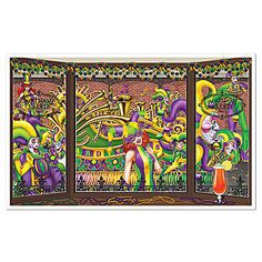 Our Mardi Gras Insta-View features a full on mardi gras party scene. The mardi gras insta-view is one sheet of thin plastic measuring 3 feet 2 inches x 5 feet 2 inches