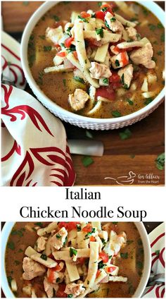 Italian Chicken Noodle Soup - An Affair from the Heart --This is an Italian twist on one of my most favorite comfort foods.  Italian Chicken Noodle Soup has thick egg noodles, Italian spiced chicken broth, lean chicken, tomatoes and fresh basil.  Sure to be a new family favorite!