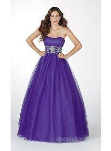 Princess Satin Strapless Long Dress Charm89020