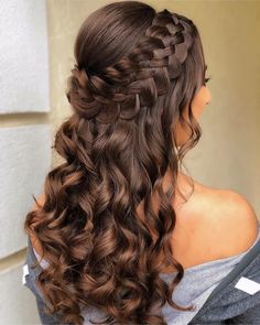 Braided Half Up Updo For Wavy Hair ❤️Hairstyles for long hair are really popular right now. See our 18 amazing Christmas ideas of half up half down hairstyles for long hair. ❤️ homecoming hairstyles 18 Nice Holiday Half Up Hairstyles for Long Hair Down Hairstyles For Long Hair, Pretty Hairstyles, Homecoming Hairstyles Down, Hairstyles For Sweet 16, Hairstyles For Graduation, Updos For Curly Hair, Prom Hairstyles For Medium Hair, Hairstyles For Women, Party Hairstyles For Long Hair
