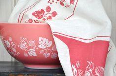 Tea Towel: Vintage Pyrex Pink Gooseberry, Cinderella Bowls-Screen Printed White Cotton -- Soft, Lint Free, Awesome.. $10.00, via Etsy.