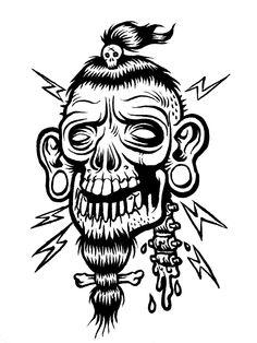 Body Art Tattoos, Tattoo Drawings, Art Drawings, Cartoon Sketches, Drawing Sketches, Shrunken Head Tattoo, Sublime Tattoo, Engine Tattoo, Black And White Flower Tattoo