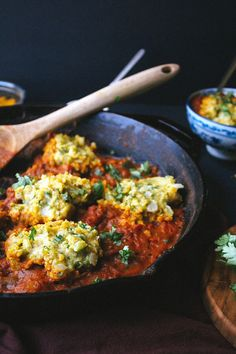 Chickpea Dumplings in Curry Tomato Sauce - Vegetarian & Vegan Recipes http://veggiefocus.com