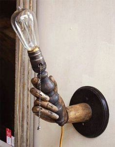 light held by an old wooden hand. ---- cool lamp but i want to get a hand model and put it on a base and hang it on the wall! Lampe Steampunk, Steampunk House, Steampunk Design, Steampunk Halloween, Steampunk Wedding, Steampunk Diy, Steampunk Furniture, Steampunk Interior, Steampunk Bedroom