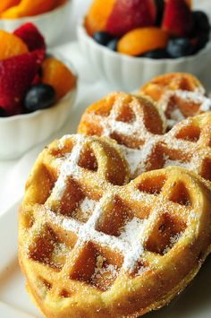 orange pecan waffles with fruit by Salad in a Jar, via Flickr