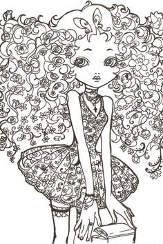 Image detail for -flower girl line art by kitschdoll traditional art drawings . Flower Coloring Pages, Coloring Book Pages, Painting Templates, Doodle Patterns, Painting For Kids, Fabric Painting, Line Drawing, New Art, Art Drawings