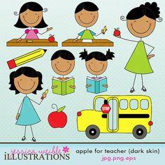 Apple for Teacher Dark Skin Stick Figures Cute by JWIllustrations, $5.00