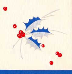 Art Deco Christmas Card. Blue Holly. Vintage Christmas Card. Retro Christmas Card.