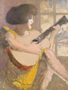 Joueuse de guitare, Armand Rassenfosse (Belgian, 1862-1934)