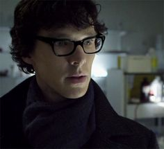 Benedict Cumberbatch as Sherlock... with glasses. Swoon.