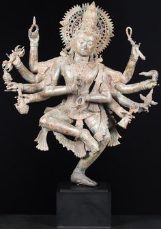 View the Brass 8 Armed Dancing Shiva Statue 38""