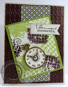 """Clockworks and Faux Gold Stamps: Clockworks, Elements of Style Paper: Naturals Ivory, Chocolate Chip, Lucky Limeade, International Bazaar DSP Ink: Chocolate Chip, Lucky Limeade Accessories: Big Shot, Argyle Emboss Folder, Gold Brad, Versamark, Gold Emboss Powder, 1/2"""" Circle Punch, 1-1/4"""" Circle Punch, Sponge Techniques: Faux Metal"""