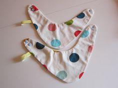 Reversible dotted striped bib for babies and by FalknerArt on Etsy