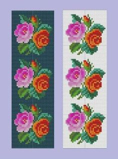 Bead Loom Bracelet Pink and Red Roses Repeating Motif Violets Sample Repeating Motif Floral Bracelet Pattern PDF Bead Loom Designs, Bead Loom Patterns, Bracelet Patterns, Beading Patterns, Loom Flowers, Seed Bead Flowers, Seed Beads, Cross Stitch Rose, Cross Stitch Flowers