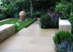 cut limestone paving, garden designed by adam frost