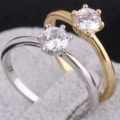 Simple Style Copper Ring Inlay White Shiny Zircon Wedding Rings for Women Two Colors