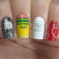 coolest back to school nails I've seen, looks more a little more mature by jamylyn_nails #fav