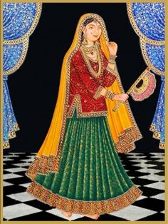Mughal paintings depict the pomp and splendour of the Mughal courts of those times.  This beautiful portrait of a Mughal queen in full regalia is awe inspiring. The keen attention given to the intricate designs on the full attire , the jewellery ,the curtains behind and even the floor below makes the queen come alive and look real .