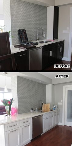 Before and after photo of a kitchen cabinet painting project at a condo downtown Toronto
