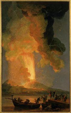 L'éruption du Vésuve - musée des beaux-arts de Brest - Pierre-Jacques Volaire, dit parfois Jacques-Antoine Volaire, dit aussi Le chevalier Volaire, né à Toulon en 1729 et mort en 1799 à Naples.
