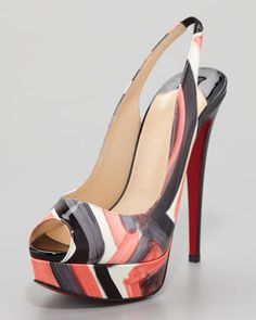 Christian Louboutin Lady Peep Painted Slingback Red Sole Pump - Adorable with the right outfit!