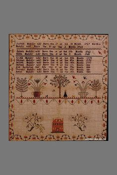 Embroidered Sampler Maker: Lydia Headly (born 1793) Maker: Rachel Headly (born 1795) Date: ca. 1805 Geography: Mid-Atlantic, Pennsylvania, United States Culture: American Medium: Embroidered silk on linen Dimensions: 20 x 18 3/4 in. (50.8 x 47.6 cm) Classification: Textiles