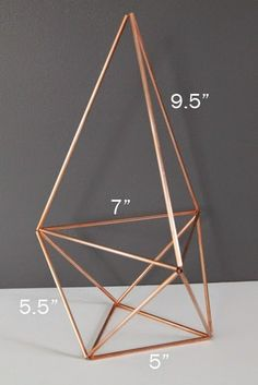 Copper Himmeli Air Plant Holder with dimensions