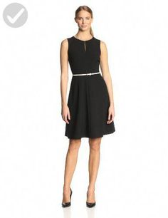 1206226021 Calvin Klein Women s Petite Sleeveless Belted Dress