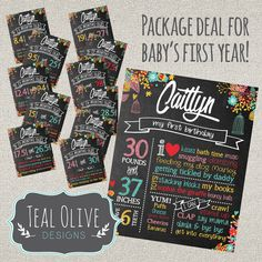Monthly Milestone Posters for FIRST YEAR - 11 monthly posters plus first birthday sign - Chalkboard sign - Birthday Sign - Monthly Sign  Celebrate your little boy's entire first year with this fun chalkboard sign package that is custom created for you! You give me the information every month and I'll give you a one of a kind digital file for you to print at home or take it to your favorite printer! Use as photo props every month to document your child's first year with all the details you…